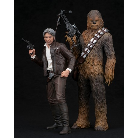 STAR WARS THE FORCE AWAKENS HAN SOLO & CHEWBACCA TWO PACK ARTFX+ STATUE