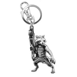 ROCKET RACCOON FIGURAL PEWTER KEYCHAIN