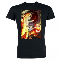 Fairy Tail - Natsu Dragneel Flames - Men T-Shirt - Black